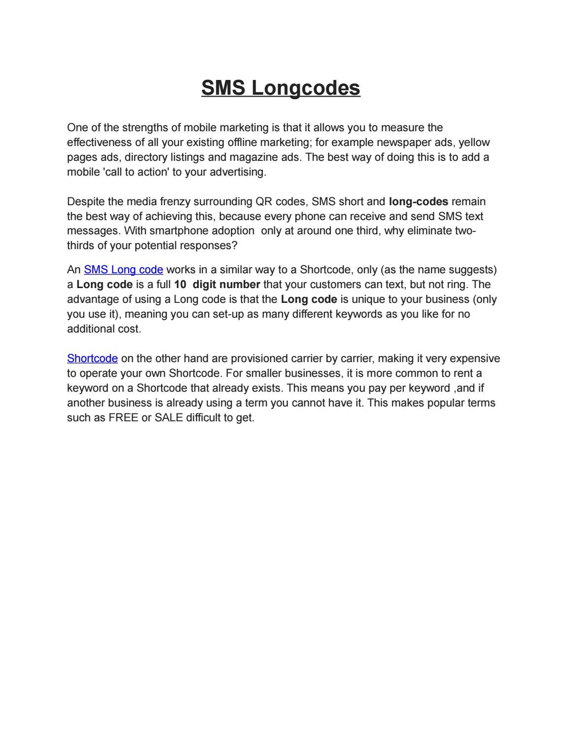 Sms longcodes by sonimittal - issuu