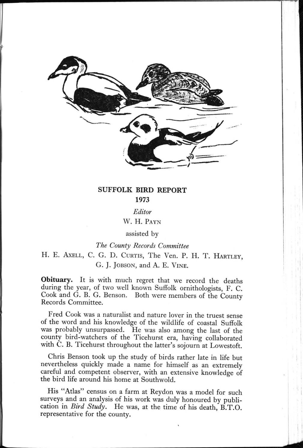 Suffolk Bird Report 1973