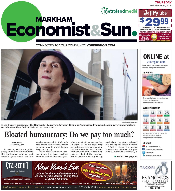 Markham Economist & Sun, December 15, 2016 by Markham Economist ...