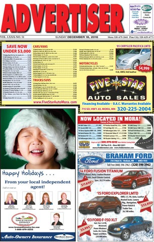 350d0e156b Mora Advertiser 121816 by Kanabec County Times Pine City Pioneer - issuu