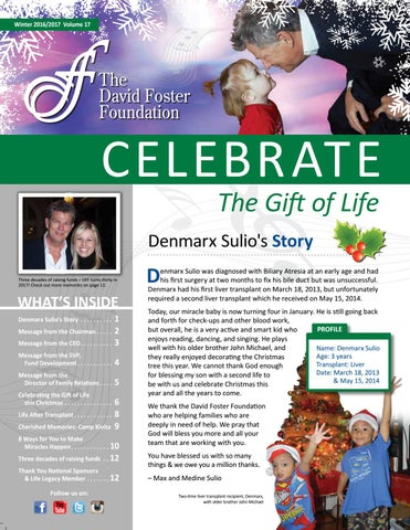 David Foster Foundation  Holiday Newsletter By David Foster