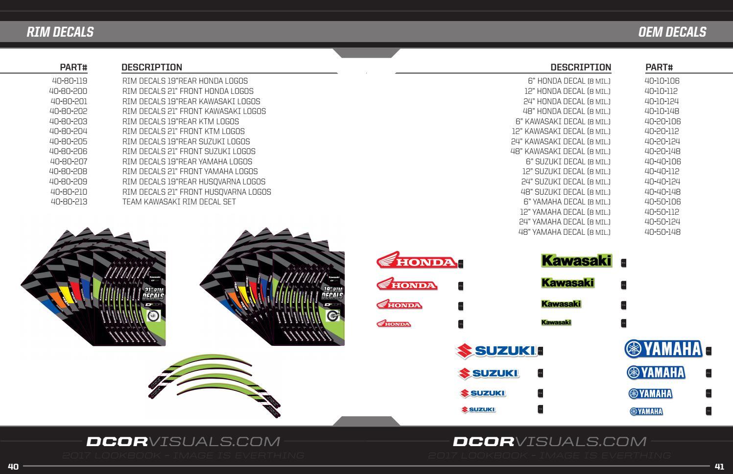 """D COR 40-80-119 Rim Decals 19/"""" Honda Logo Rear"""