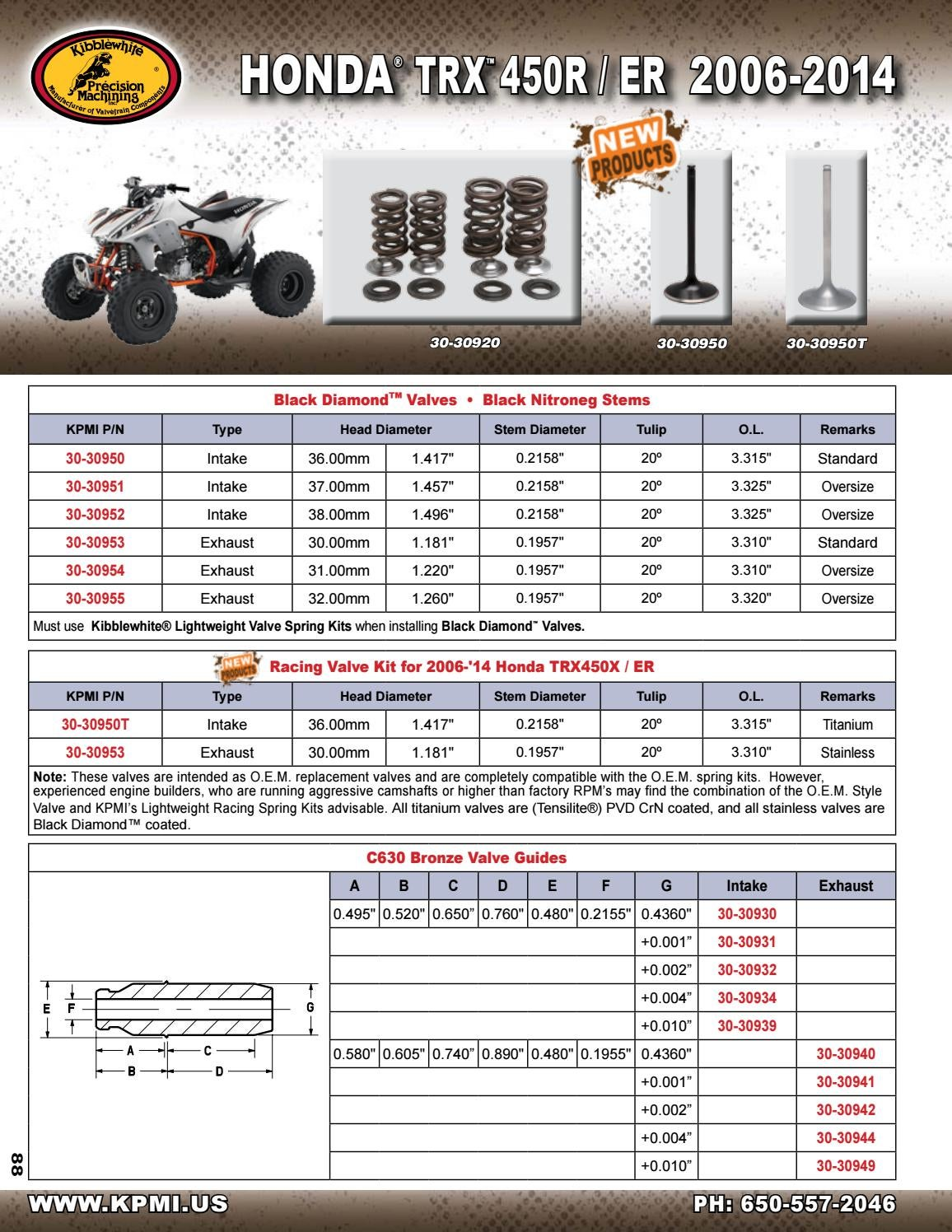 HONDA TRX450R 2006-2014 /_30-30953 Kibblewhite Black Diamond Exhaust Valve