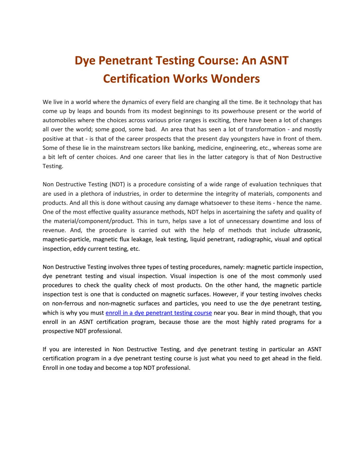 Dye Penetrant Testing Course An Asnt Certification Works Wonders By