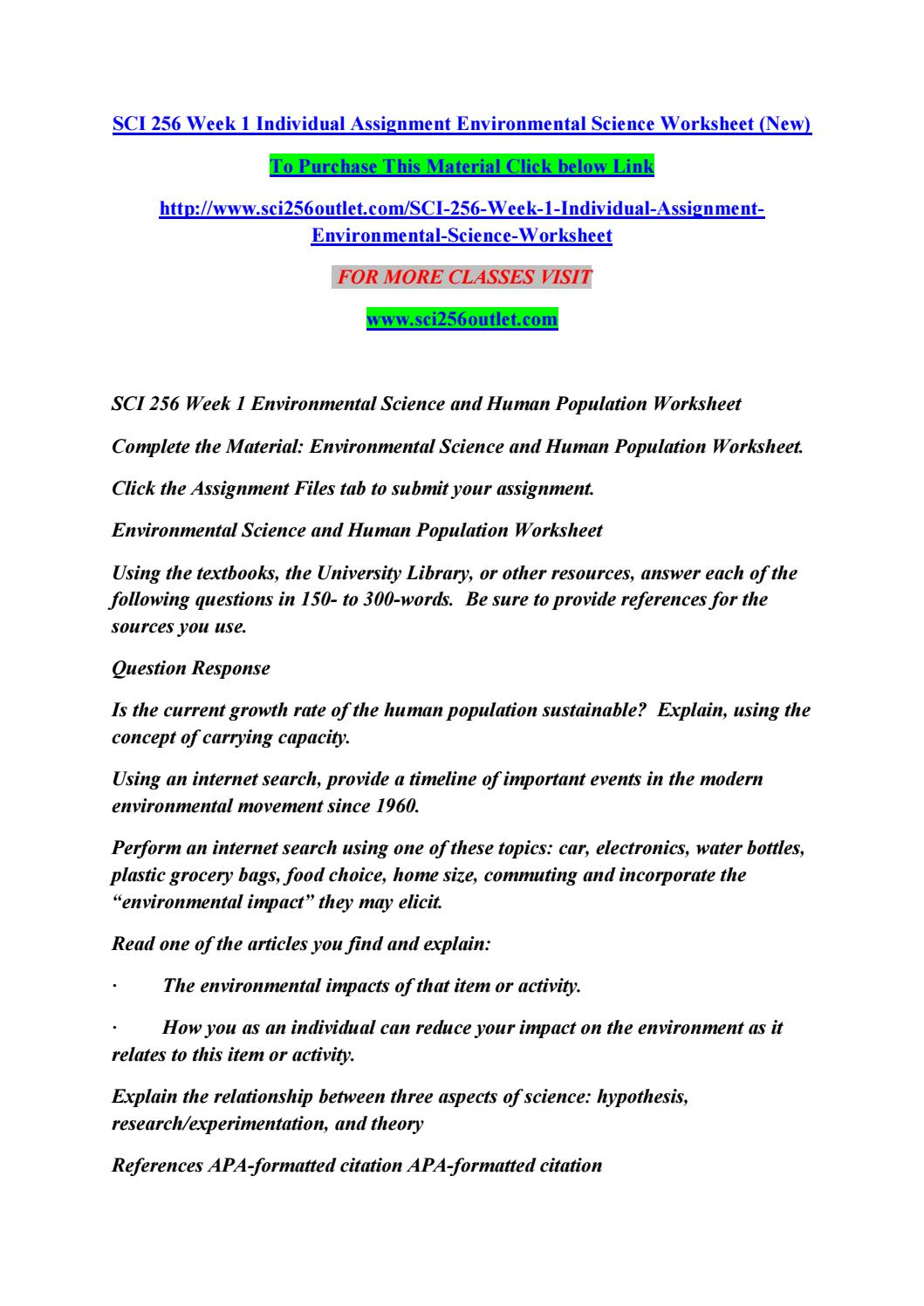 Sci 256 week 1 individual assignment environmental science – Human Population Worksheet