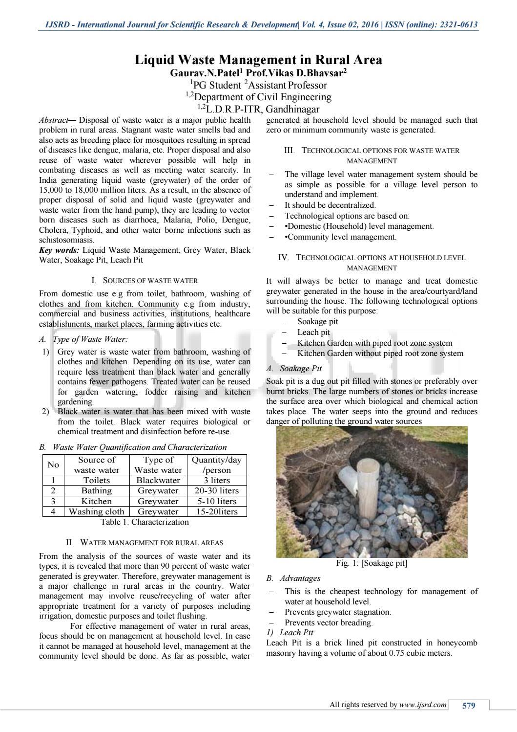 Liquid Waste Management In Rural Area by International