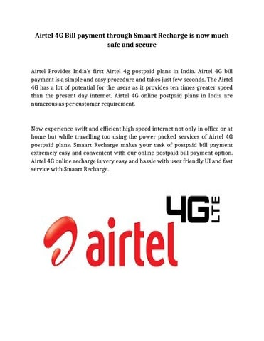 Airtel 4G Bill payment through Smaart Recharge is now much safe and