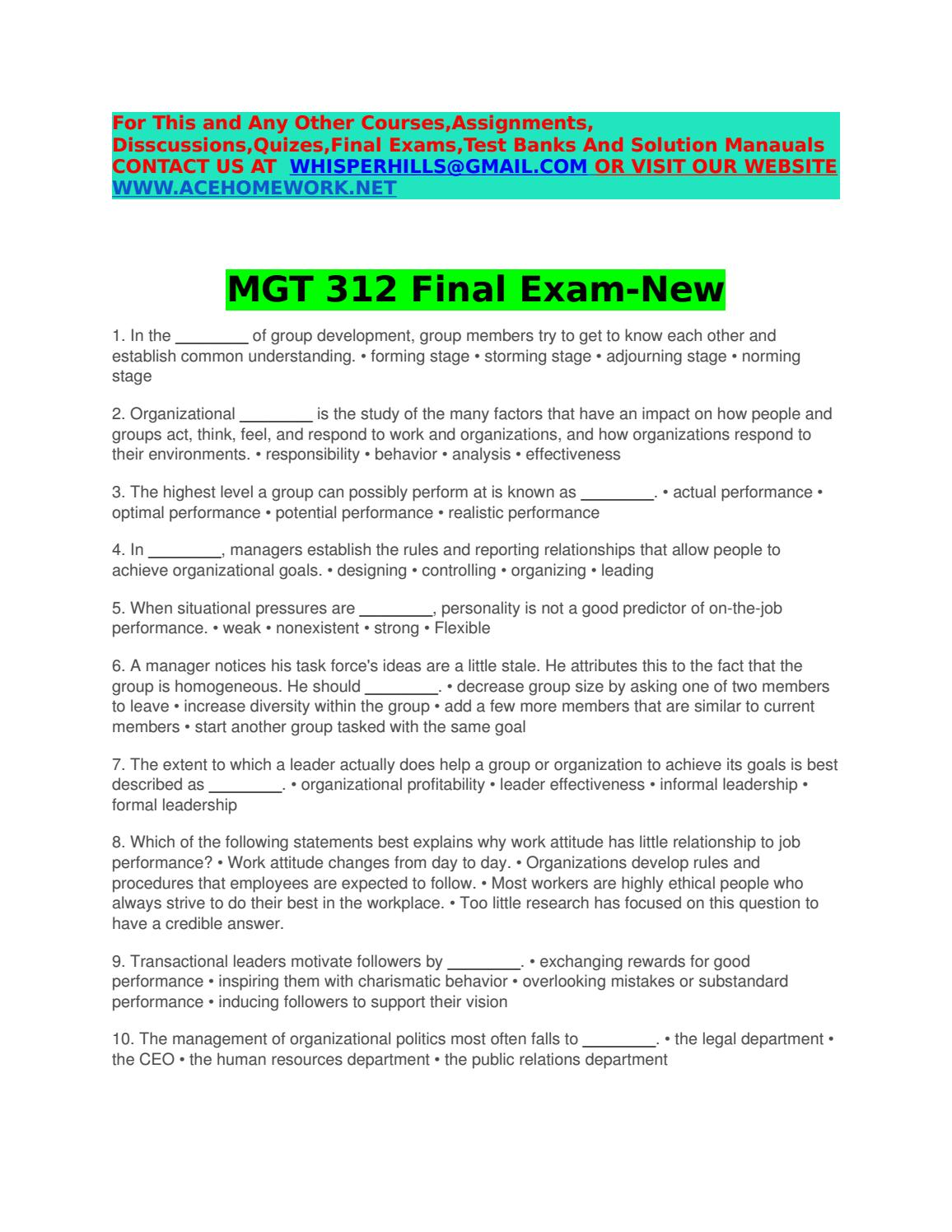 Mgt 312 final exam new by sanamcandy - issuu