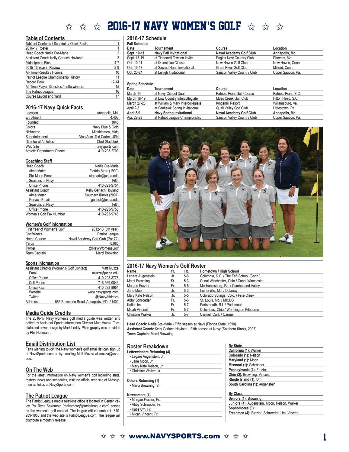 ec1b7a4b9a5 2016-17 Women s Golf Guide by Naval Academy Athletic Association - issuu