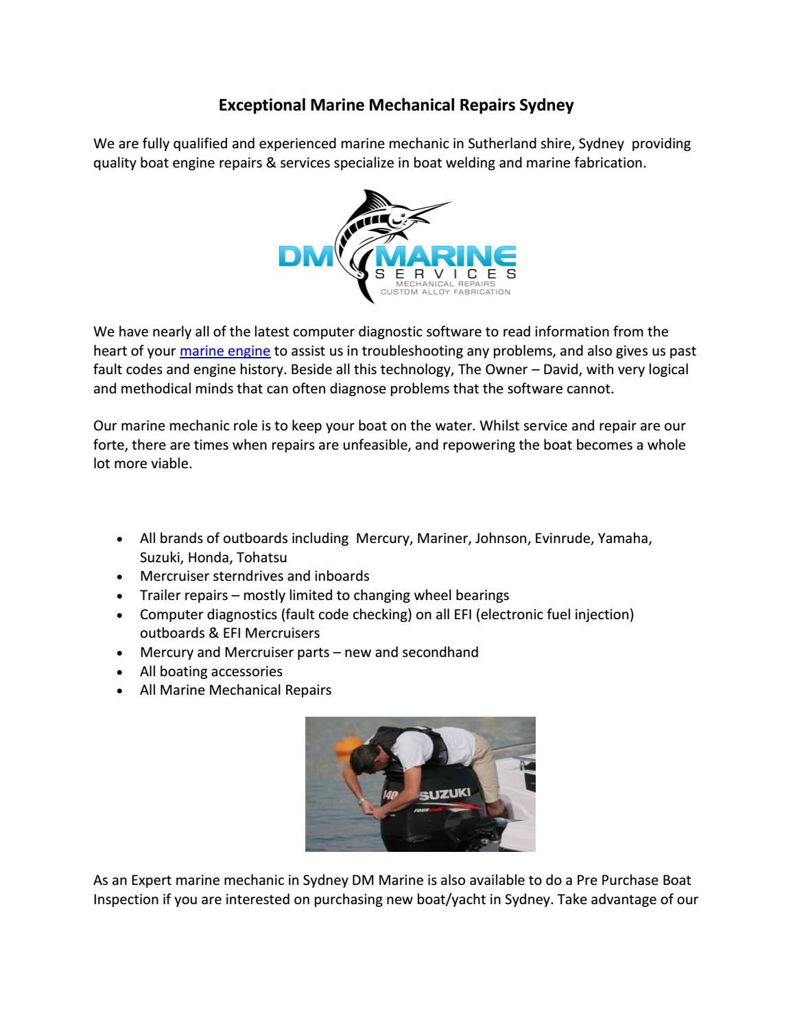 Exceptional marine mechanical repairs sydney by DM Marine Services