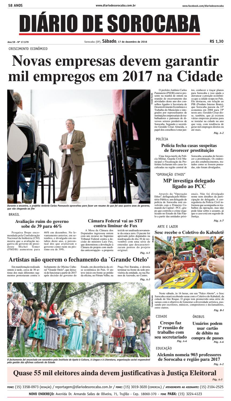 Edição de 17 de dezembro de 2016 by DIÁRIO DE SOROCABA - issuu 0cb2ae0148bfe