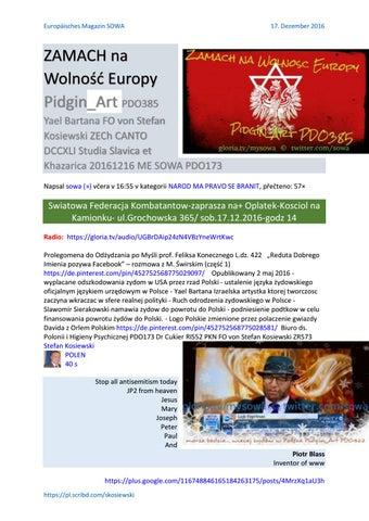 Zamach na wolnosc europy pidgin art pdo385 yael bartana fo von stefan kosiewski zech canto dccxli st