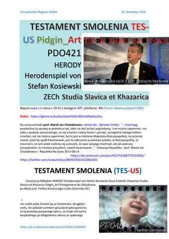 Testament smolenia tes us pidgin art pdo421 fo herody herodenspiel von stefan kosiewski zech studia