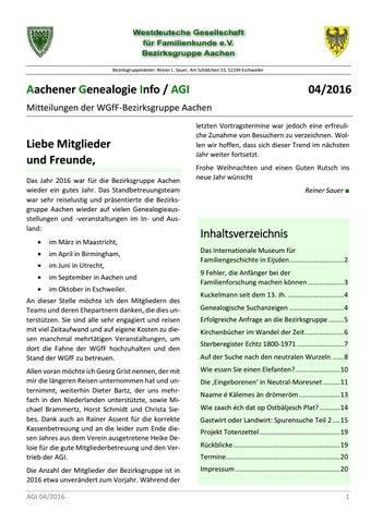 Aachener Genealogie Info 042016 By Wgff Aachen Issuu