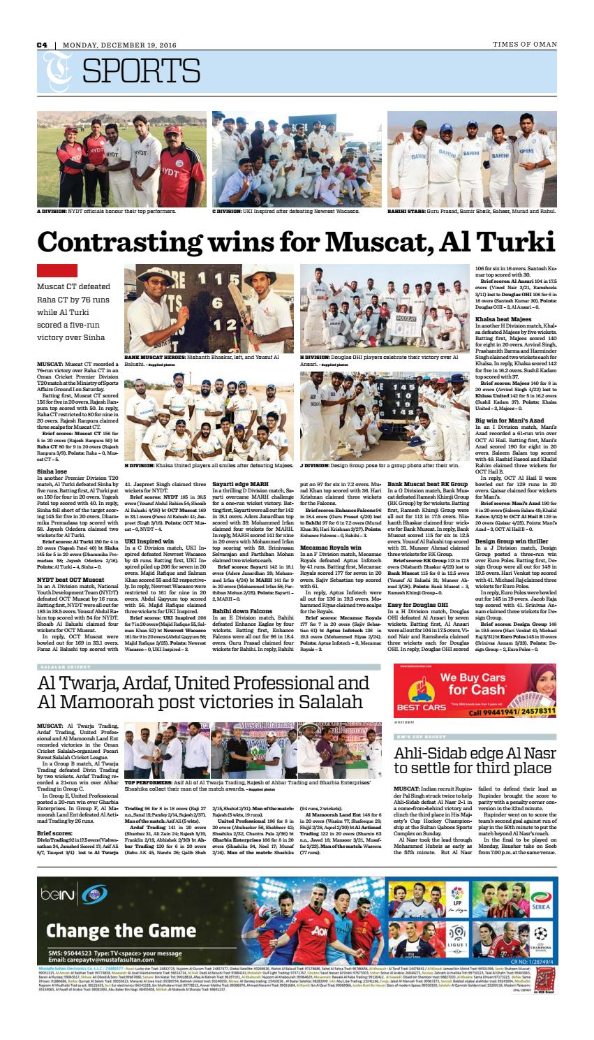 Times of Oman - December 19, 2016 by Muscat Media Group - issuu