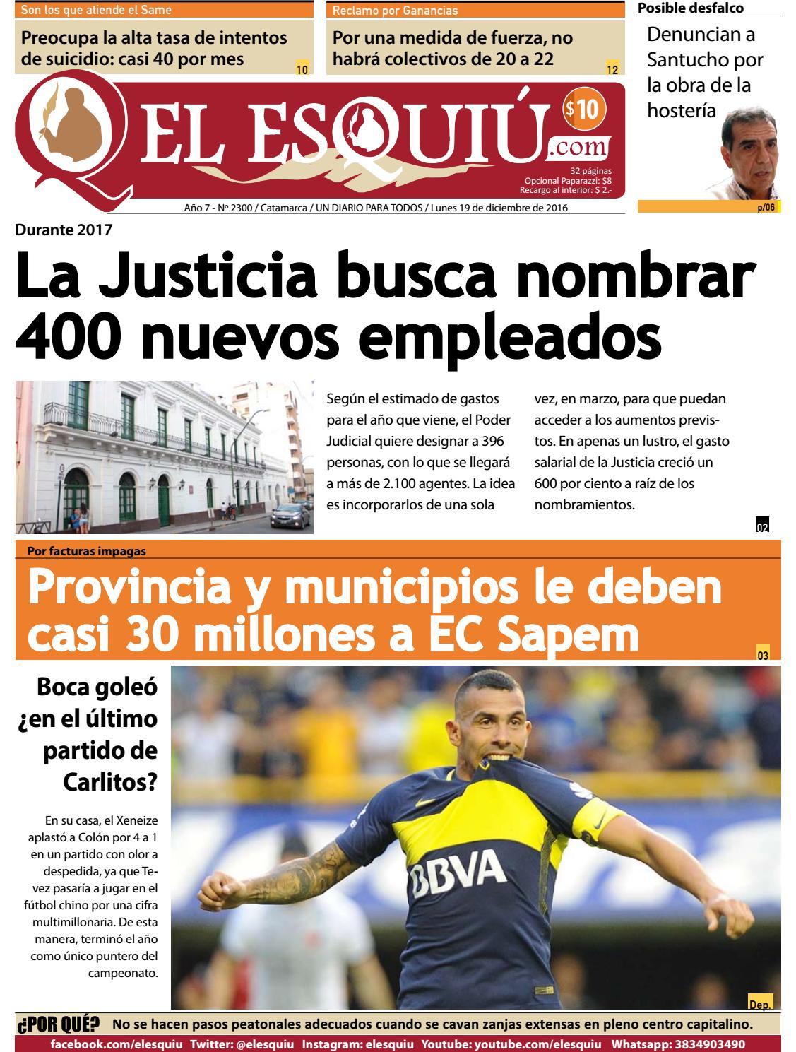 El Esquiu Com Lunes 19 De Diciembre De 2016 By Editorial El  # Ozuna Muebles Posadas