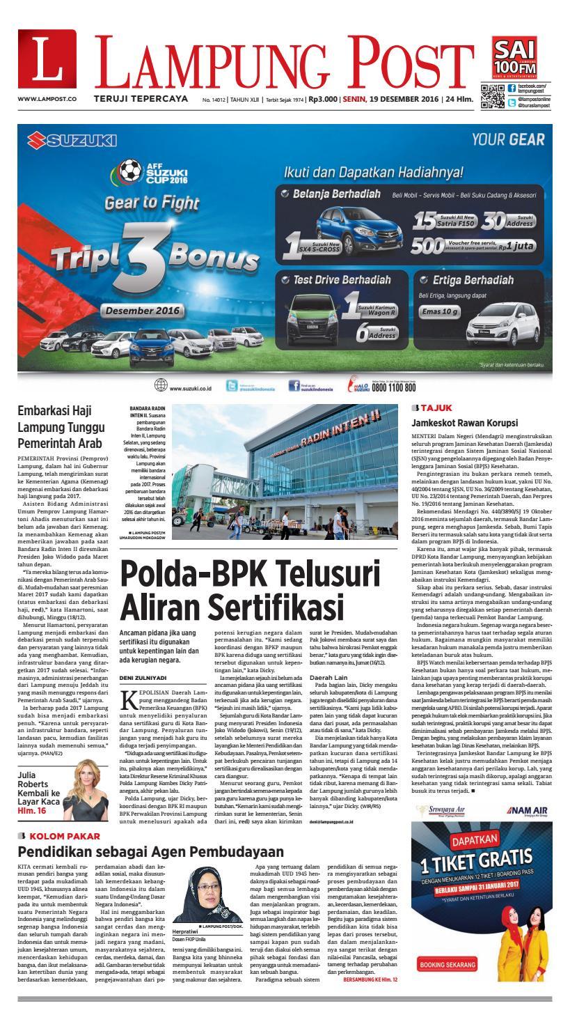 Lampung Post Senin 19 Desember 2016 By Lampung Post Issuu