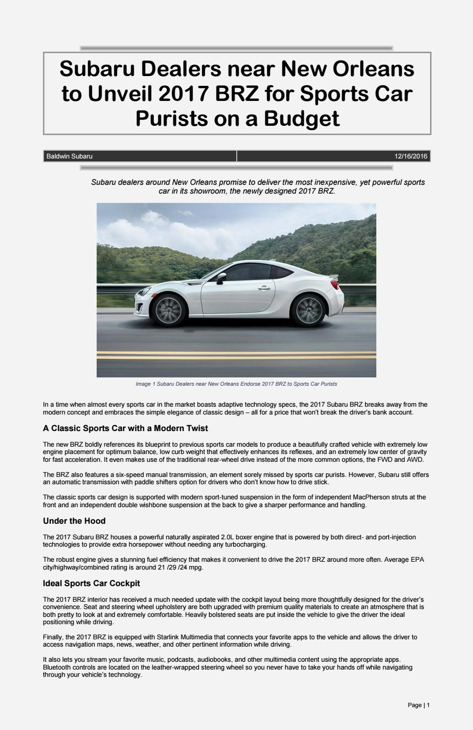 Subaru Dealers Near New Orleans To Unveil 2017 Brz For Sports Car Boxer Engine Diagram Purists On A Budget By Baldwin Issuu
