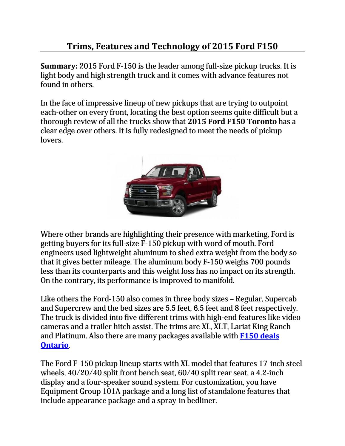 How Much Does A Ford F150 Weigh >> 2015 Ford F 150 Toronto By East Court Ford Lincoln Issuu
