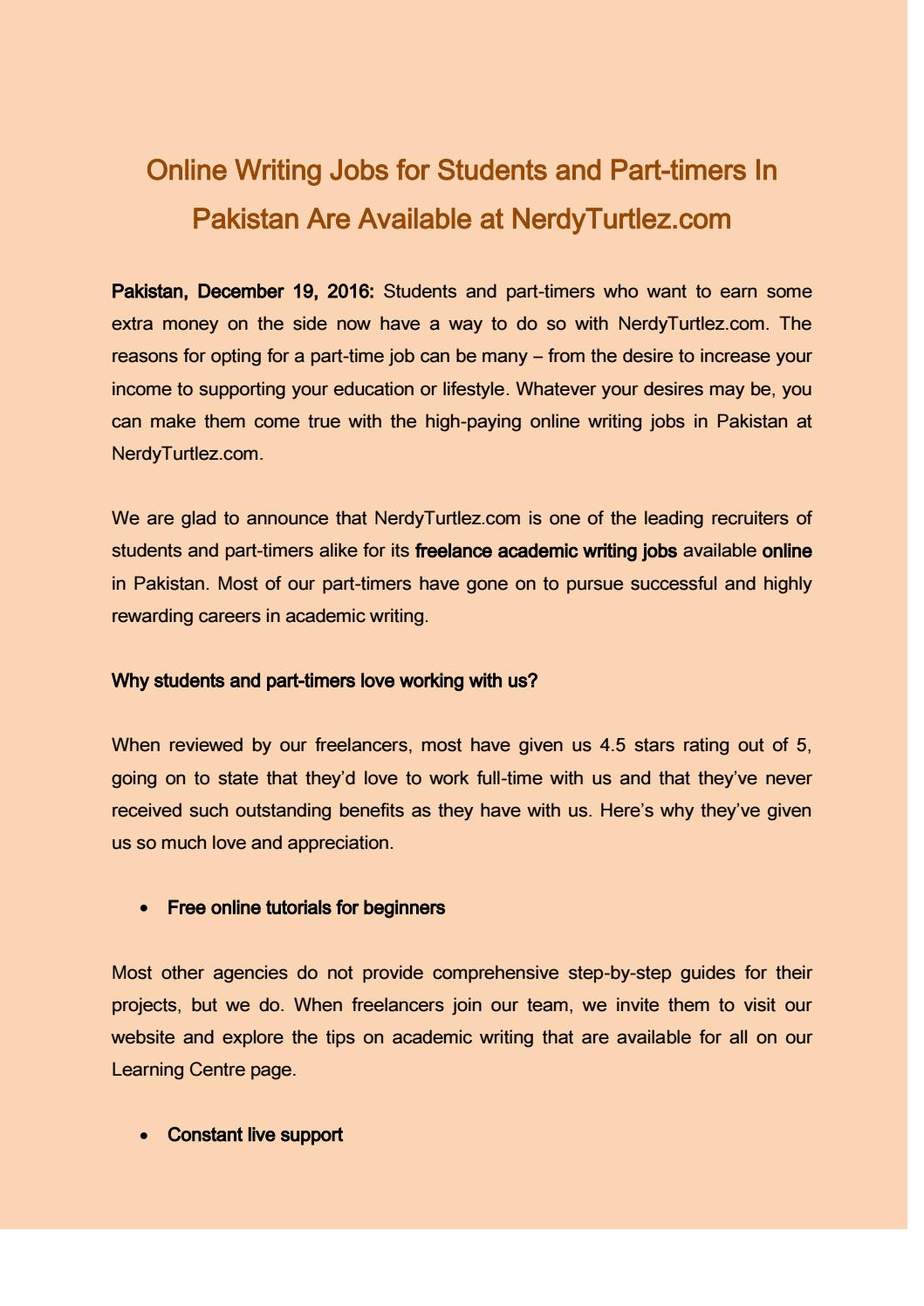 Online writing jobs for students and part timers in pakistan