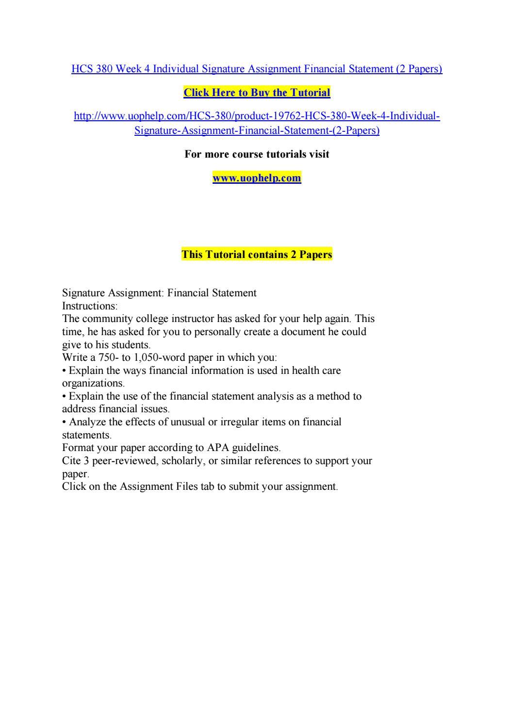 hcs 380 week 4 individual signature assignment financial