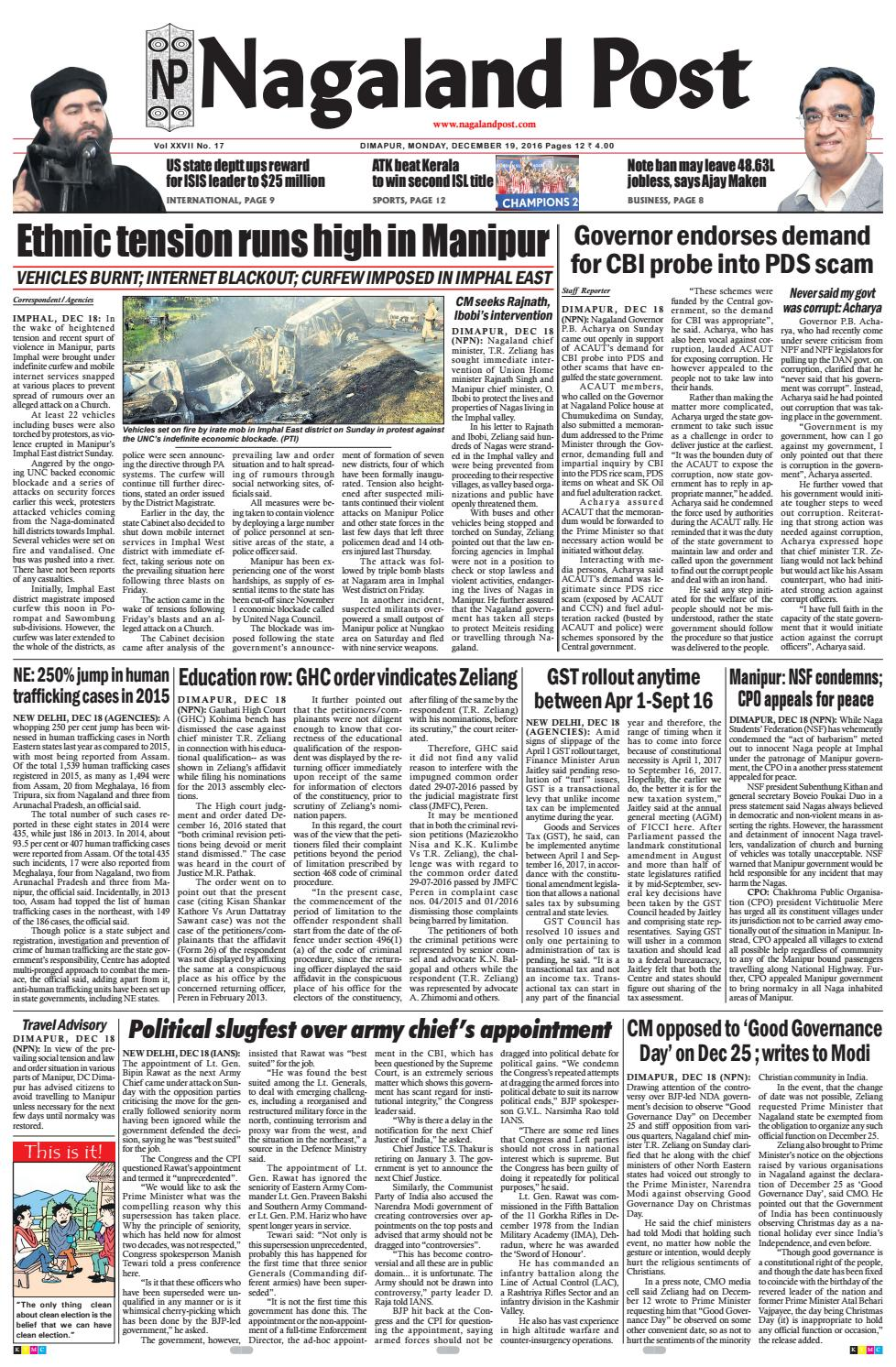 December 19, 2016 by Nagaland Post - issuu