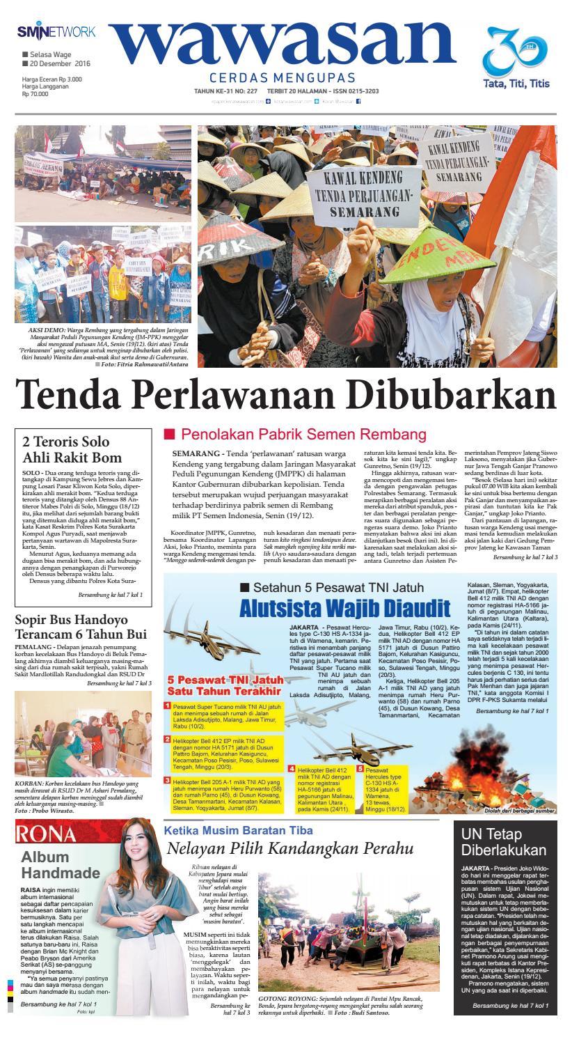Wawasan 20 Desember 2016 By Koran Pagi Issuu Produk Ukm Bumn Tempat Tisu Handmade Trenggalek