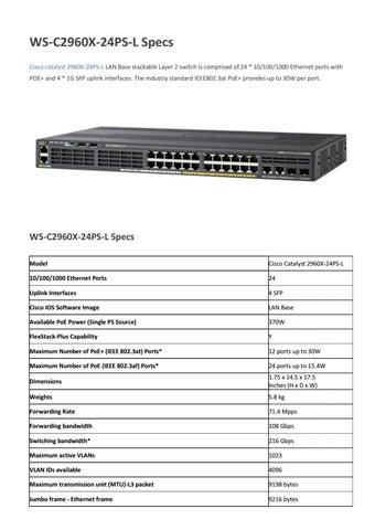 Cisco ws c2960s 24ps l datasheet