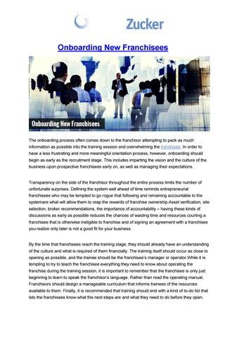 Onboarding New Franchisees by fisherzucker1 - issuu