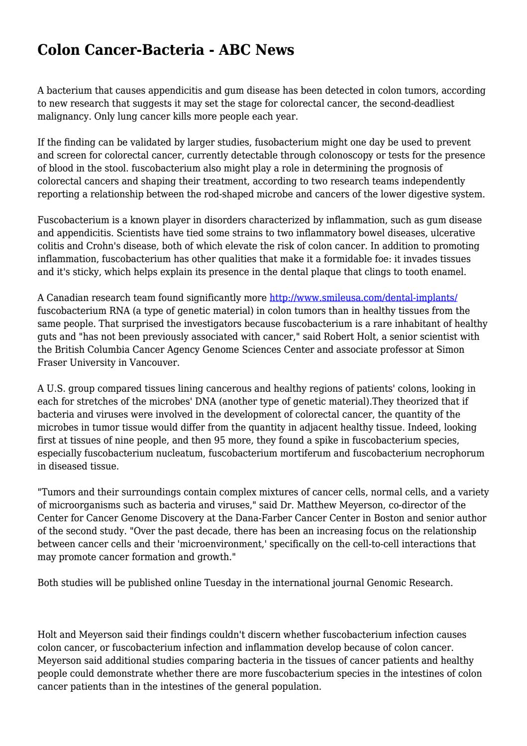 Colon Cancer Bacteria Abc News By Groovycuff7668 Issuu