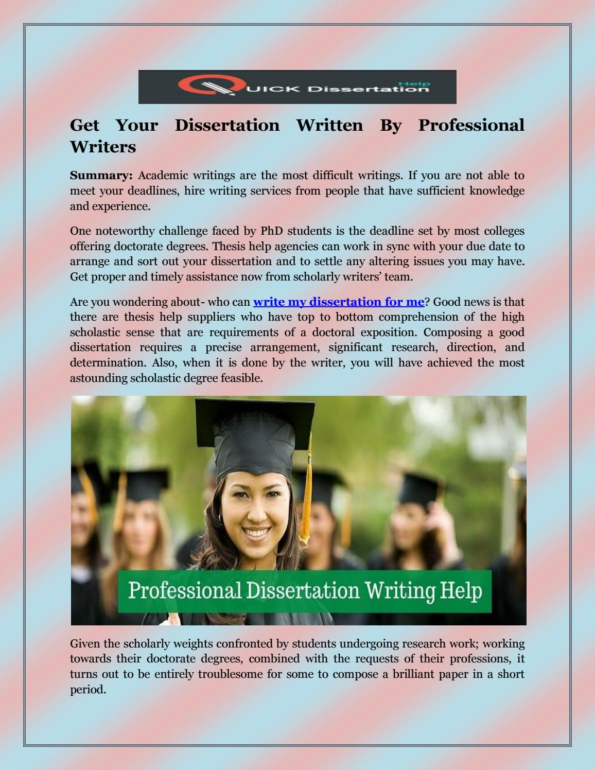 Get your dissertation written for you
