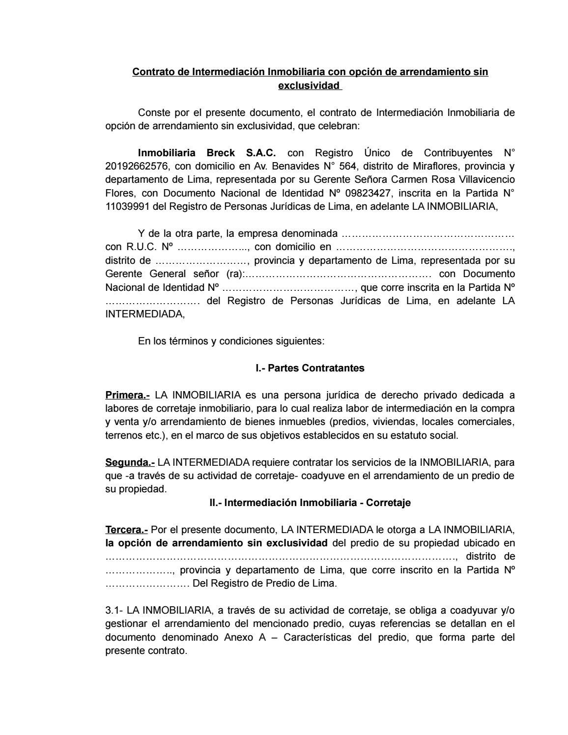 Arrendamiento sin exclusividad persona juridica by ignacio for Contrato documento