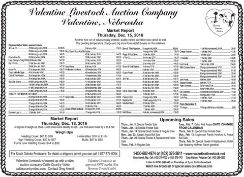 Valentine Livestock Auction Co. Market Report   12.19.16