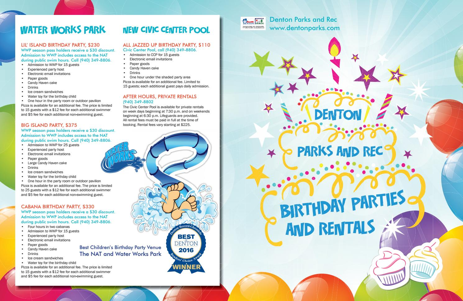 2016 Denton Parks and Rec Birthday Party Packages by Denton Parks ...