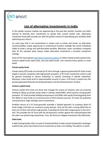 List of all investment options