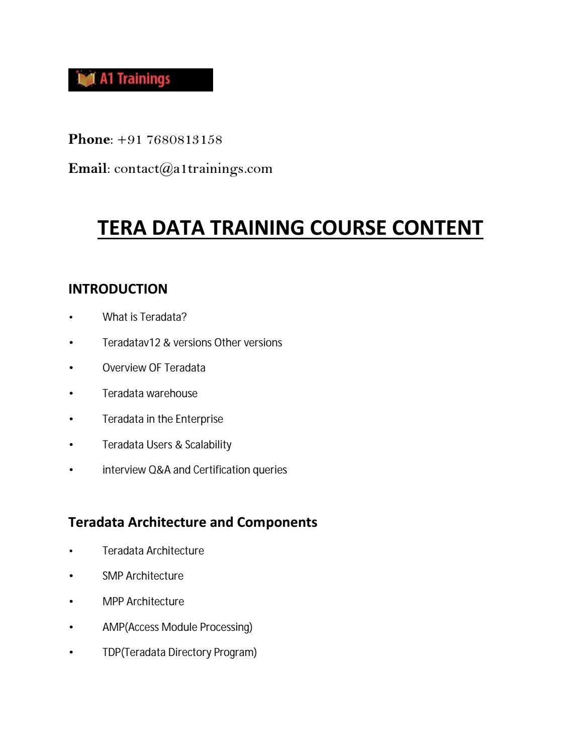 Online Teradata Training Online Teradata Certification Course In