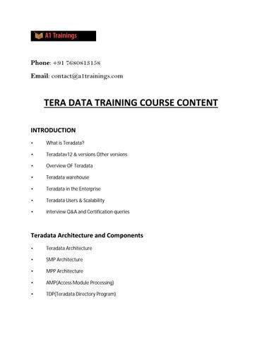 Online Teradata Training | Online Teradata Certification Course in ...