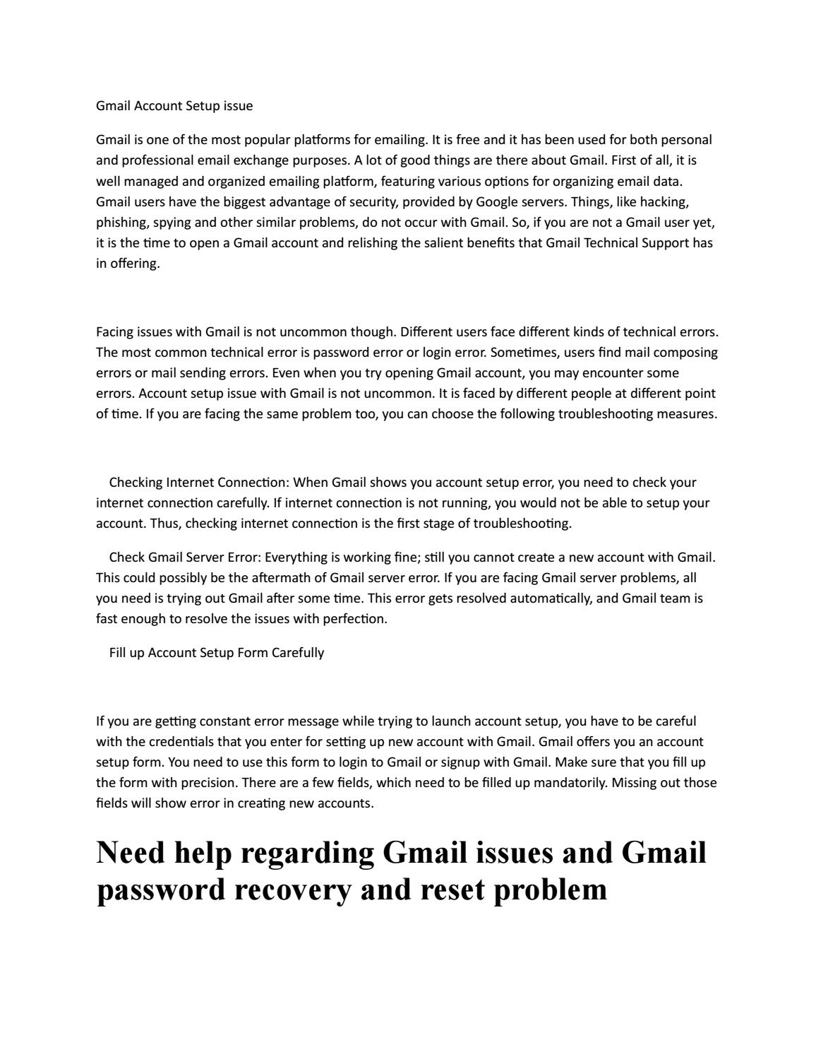 Gmail account setup issue by Gmail Technical SUpport - issuu