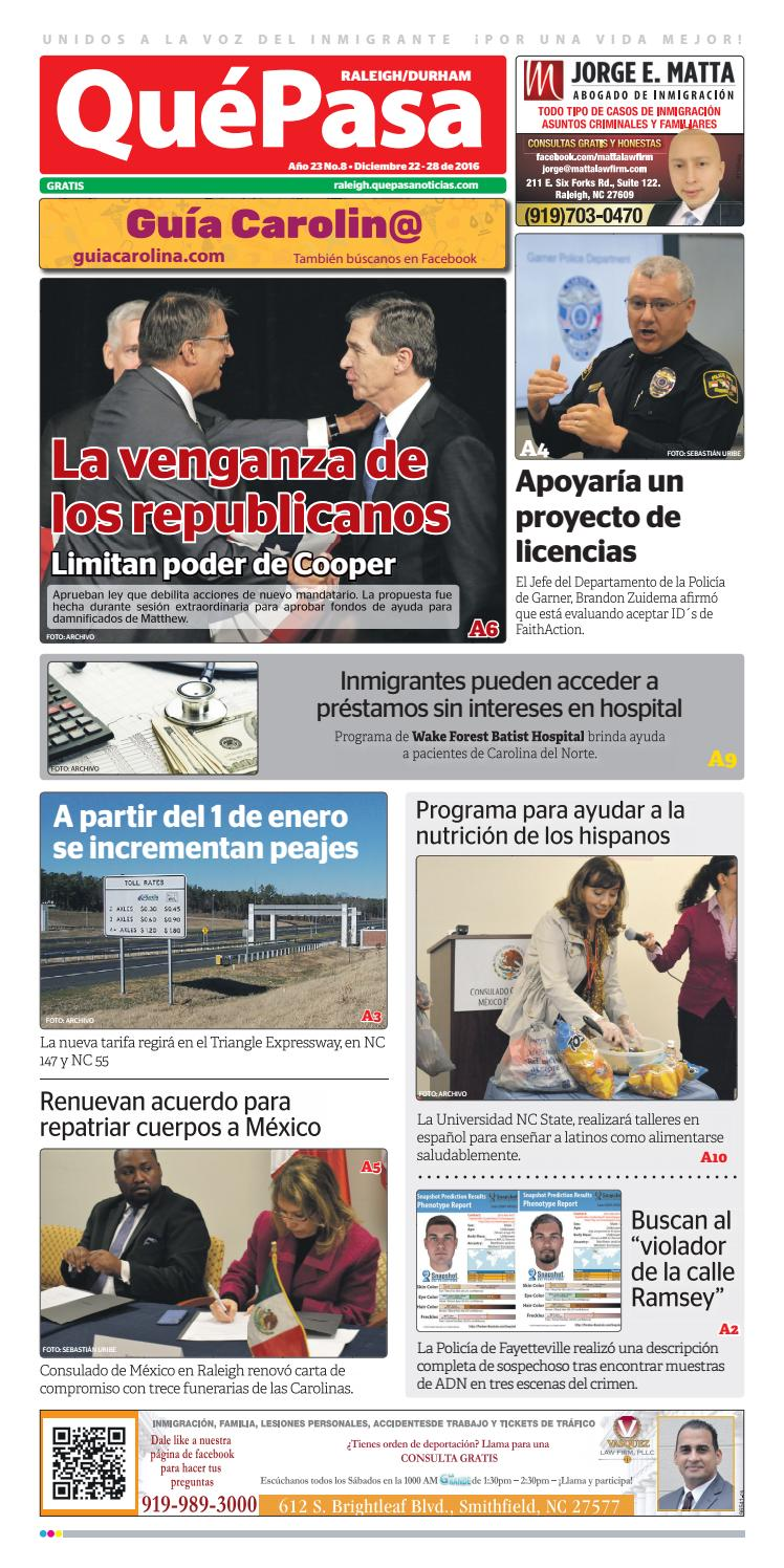 Quepasa raleigh v23n08 by Que Pasa Media Network - issuu