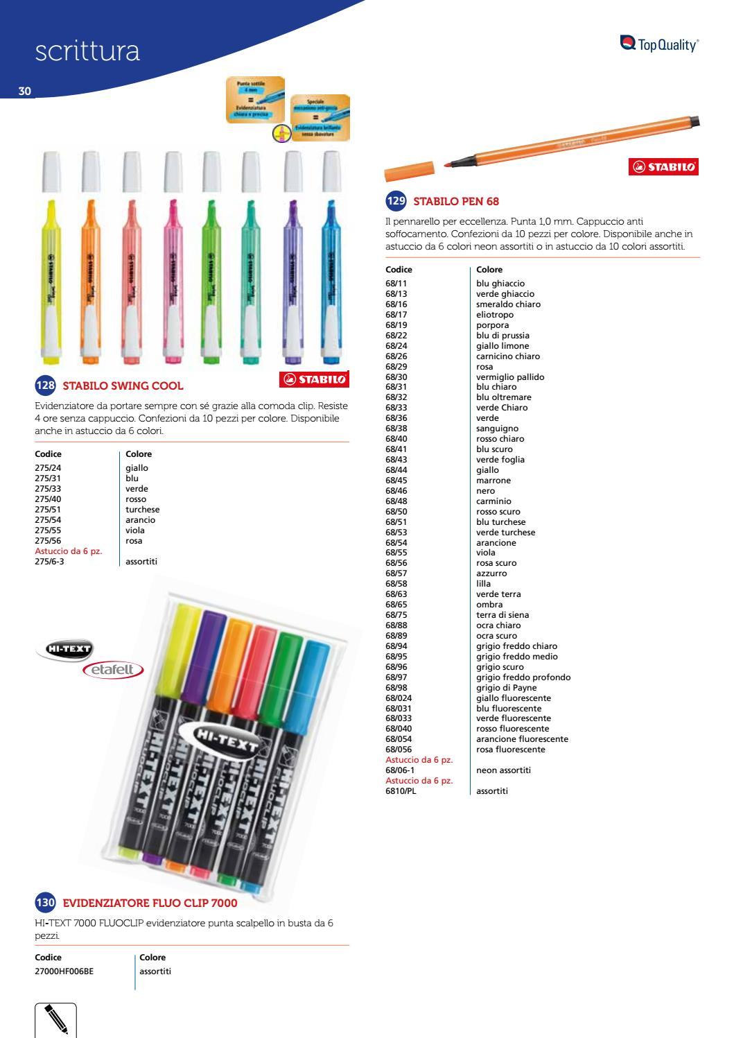 HI-TEXT 7000 FLUOCLIP evidenziatore punta scalpello Busta 5 pezzi colori assortiti