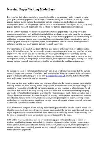 Write nursing papers dissertation uk sample