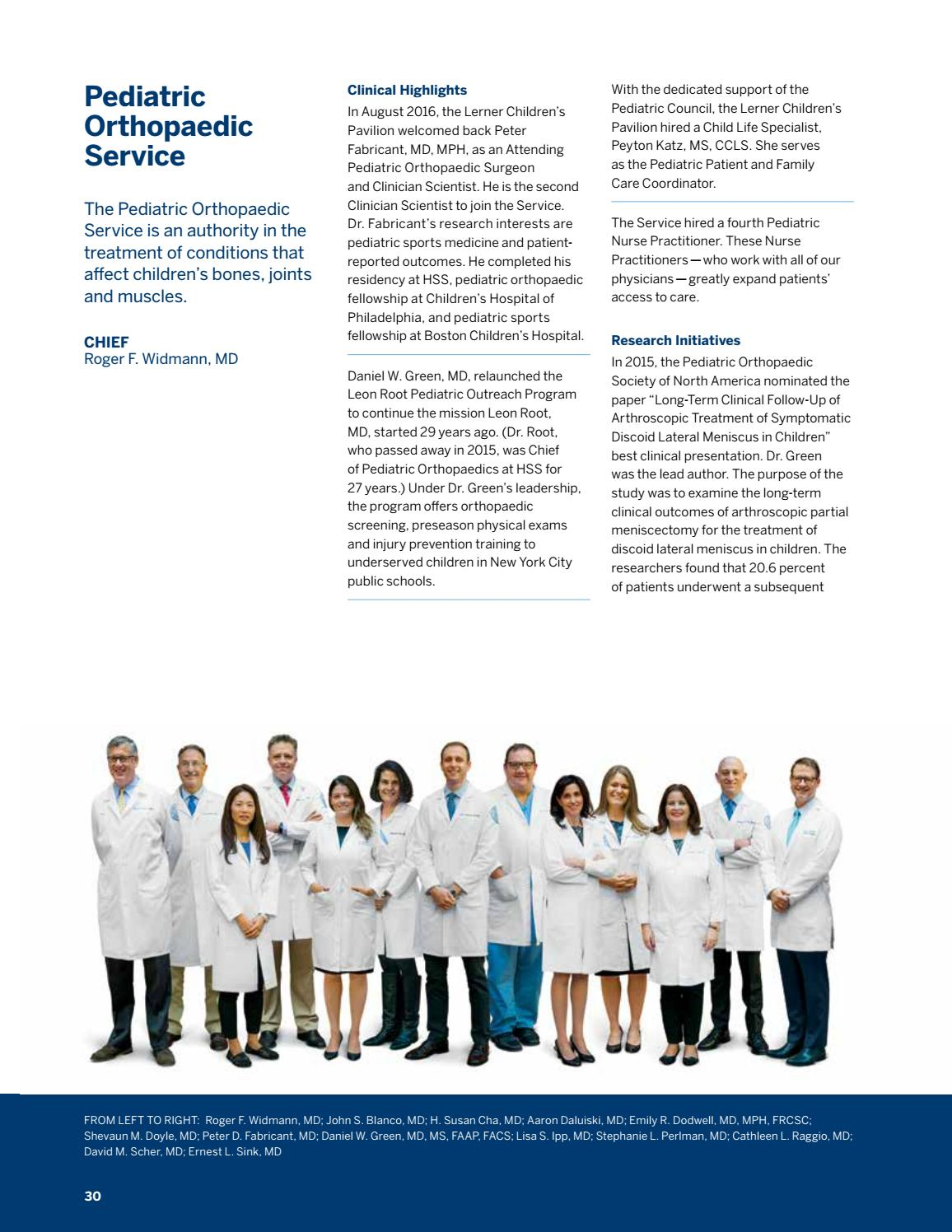 HSS Orthopedic Annual Report 2016 by Hospital for Special Surgery