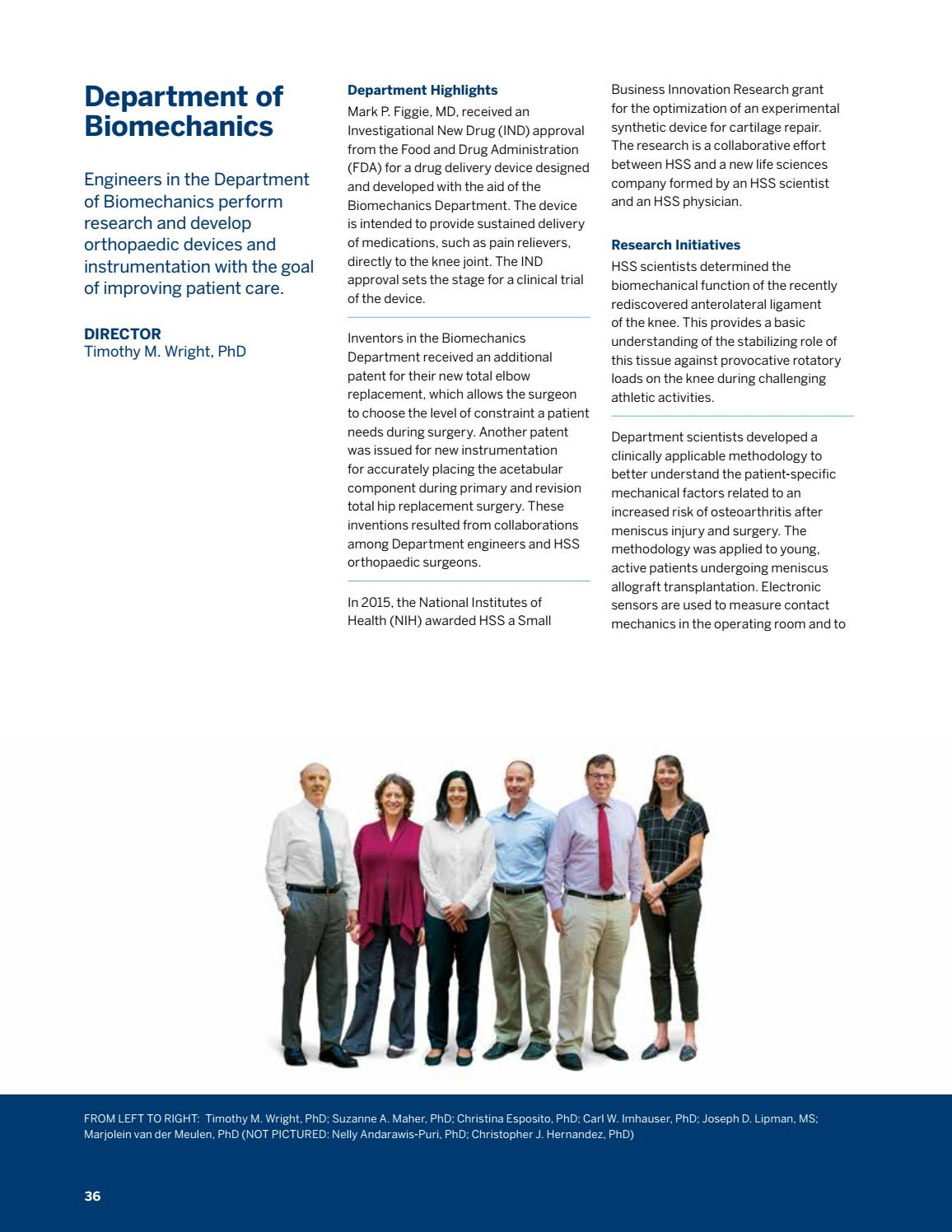 HSS Orthopedic Annual Report 2016