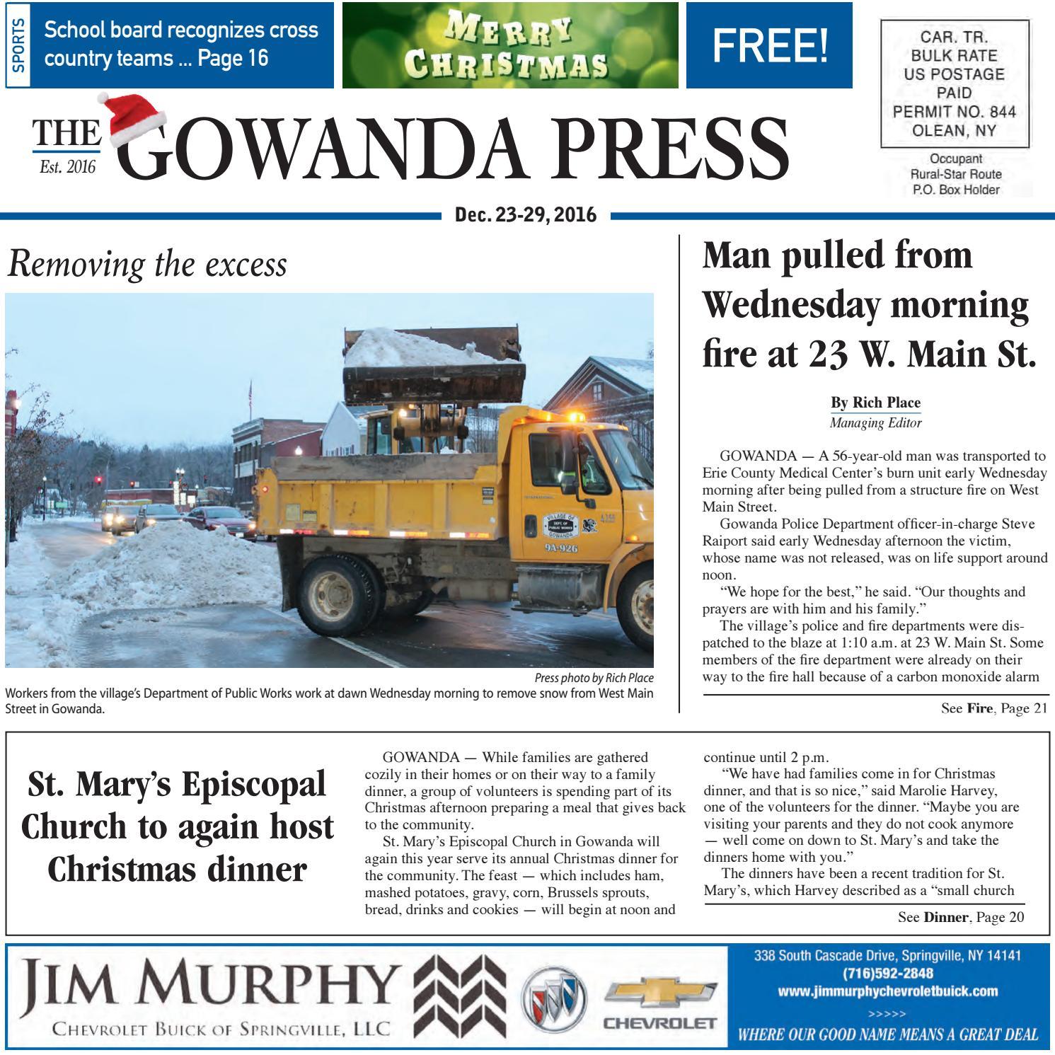 Gowanda Press Dec 23 2016 Edition By Bradford Publishing