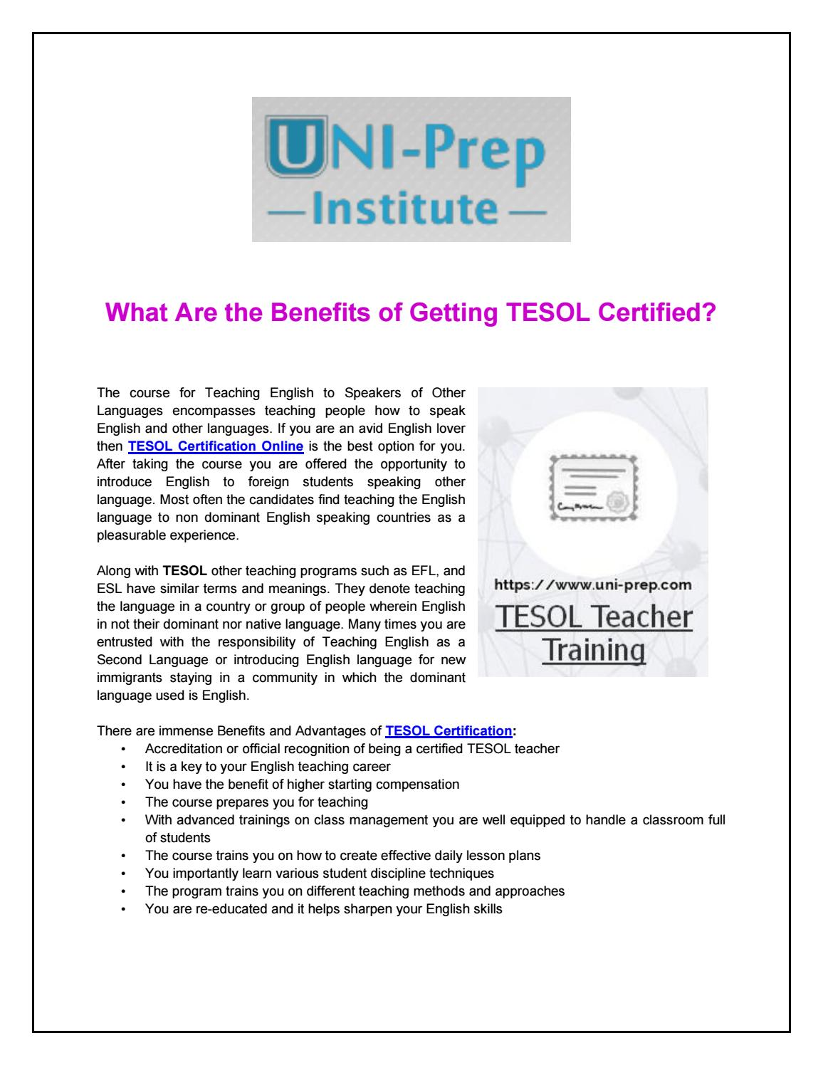 What Are The Benefits Of Getting Tesol Certified By Uniprep Issuu