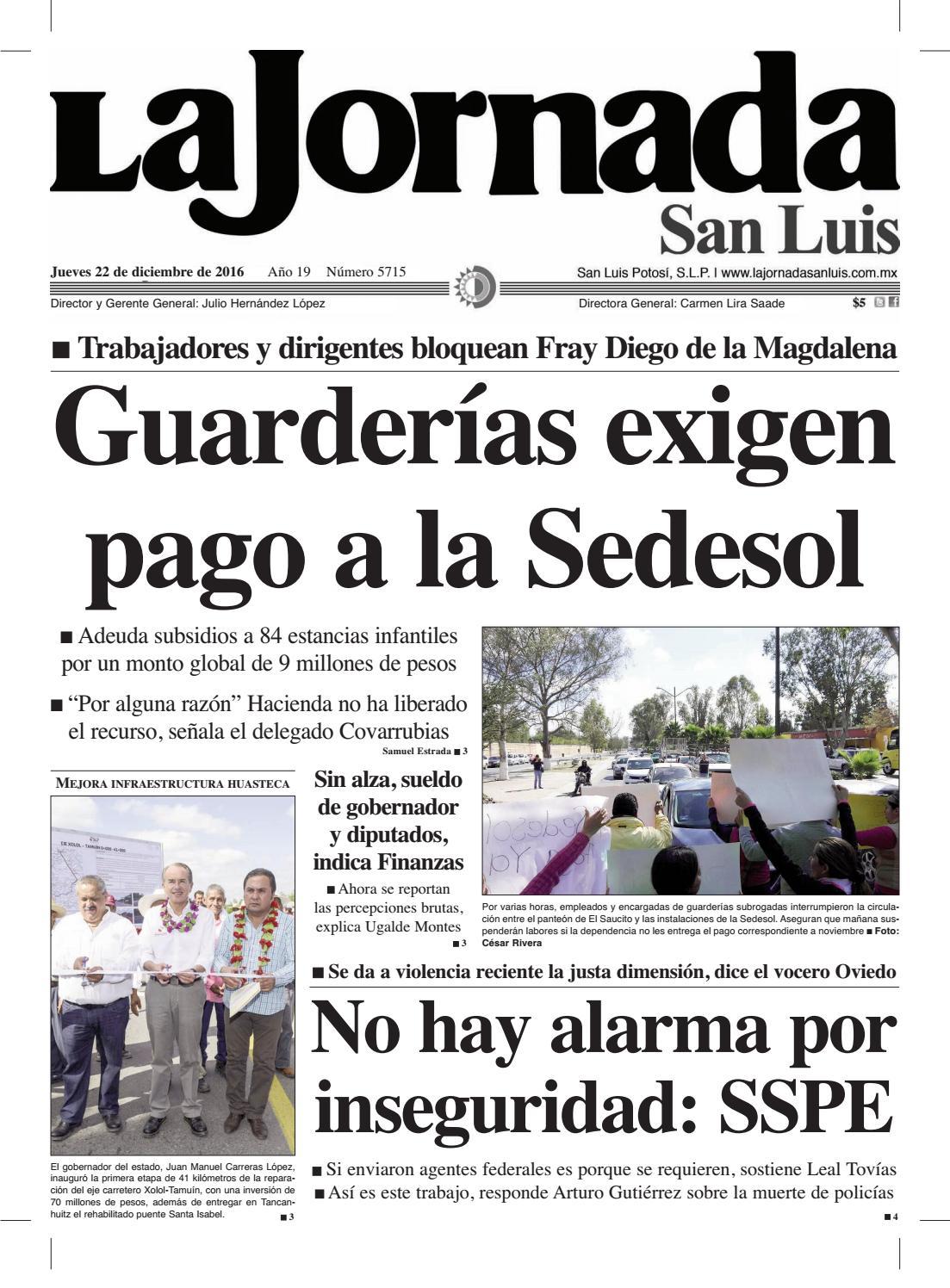 Guarderías exigen pago a la Sedesol by La Jornada San Luis - issuu