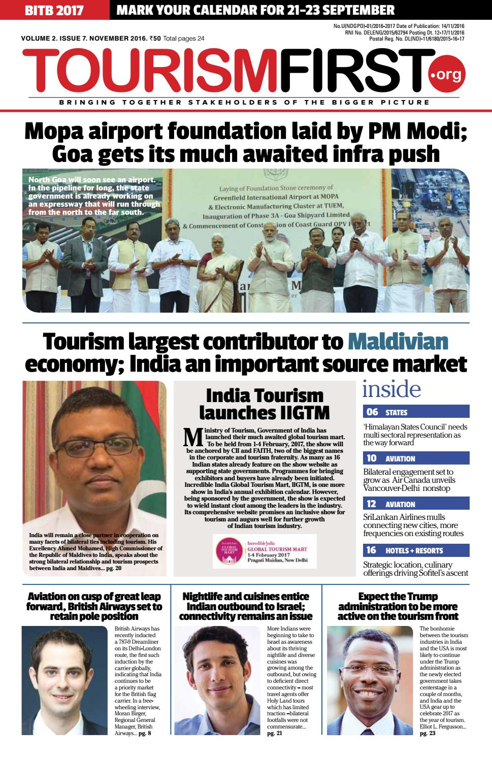 5b5602fe42 Tourismfirst november issue by Cross Section Media Pvt. Ltd. - issuu