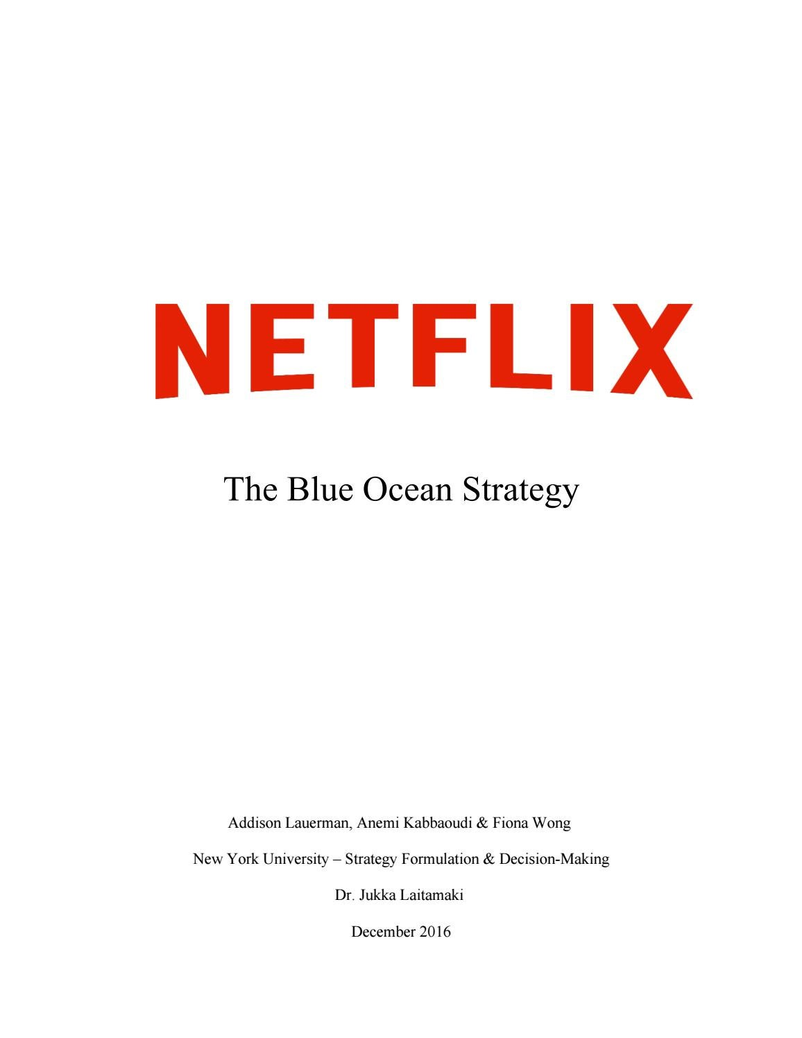 netflix case study analysis The founder and ceo of netflix, inc reed hastings, incorporated in  the  porter's five forces model will be used to analyze the long run.