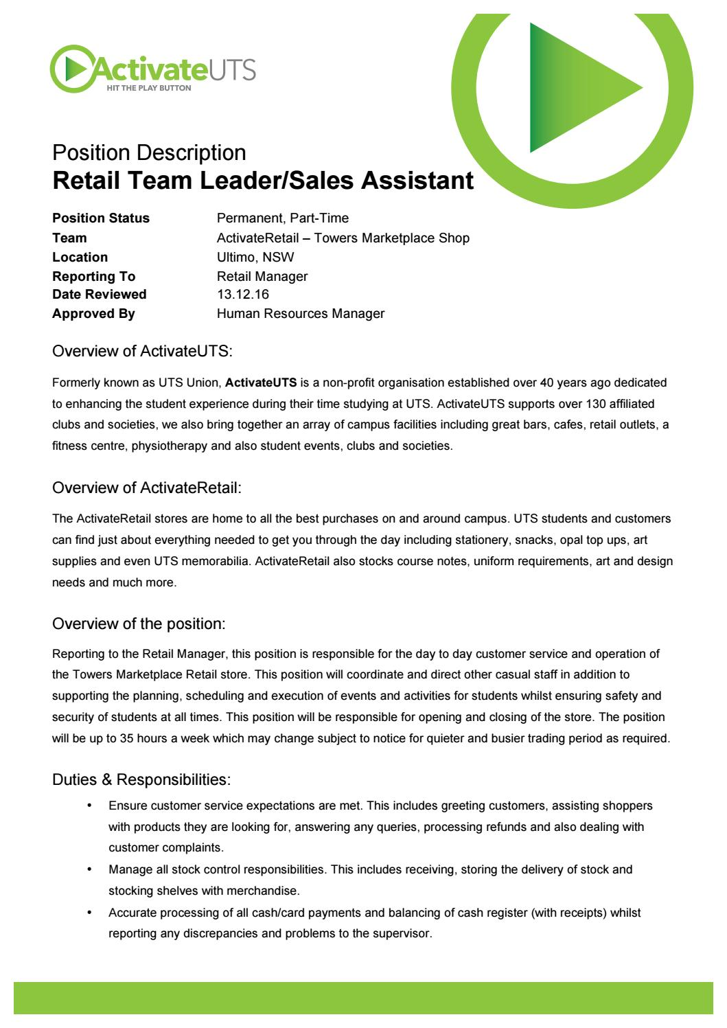 Retail Team Leader Position Description By Activateuts Issuu
