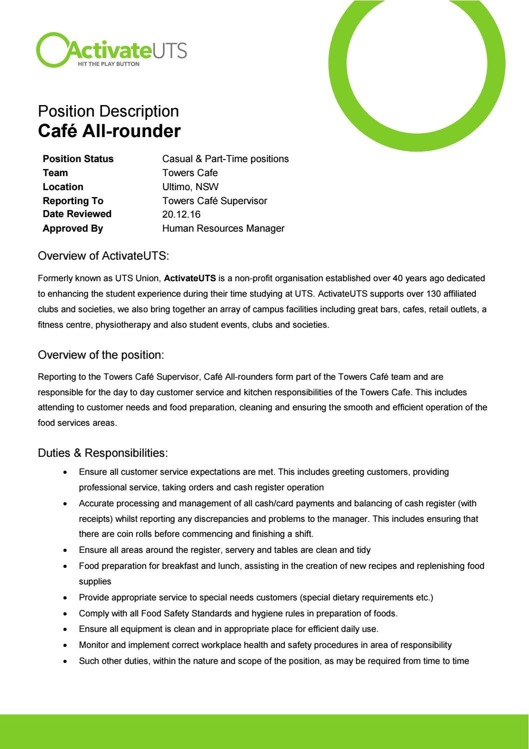 caf u00e9 all rounder- position description by activateuts